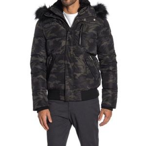 NOIZE Camo Quilted Removable Hoodie Bomber Jacket